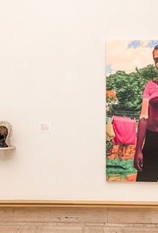 "From left: Sonya Clark, ""Twenty-One""; Beau Sinchai, ""Reclaiming the Gaze""; Marianna Olague, ""Maya."""