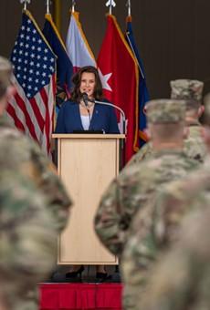 Gov. Gretchen Whitmer addresses the 3rd Battalion, 238th Aviation Regiment, of the Michigan National Guard.