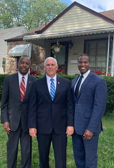 In case there's any confusion: Yes, John James, right, is a Republican.