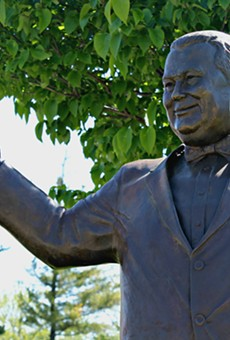 The Orville Hubbard statue was removed in June.