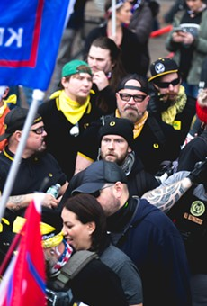 "The ""Million MAGA March"" saw Proud Boys gather in Washington, D.C. in December."