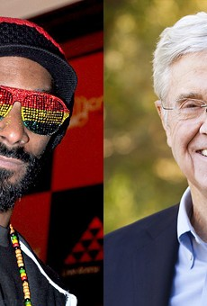 Snoop Dogg, left, and Charles Koch.