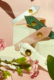 Cannabis brand Verdeux's recently launched spring collection features a splash of bright colors, including rainbow cones, ombre pink pipes, and rose gold accessories.