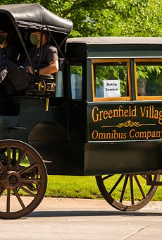 "Greenfield Village is offering rides in its old-timey ""Omnibus"" horse-drawn carriages."