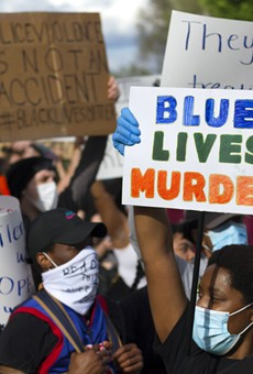Protesters in Detroit rally against police brutality.