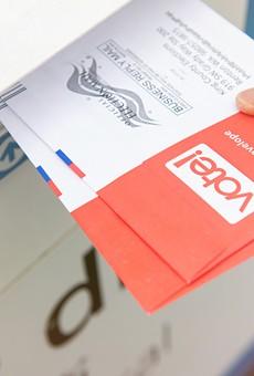 An absentee ballot drop box.