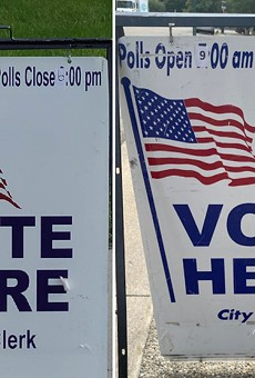 U.S. Rep. Rashida Tlaib posted photos showing signs with the wrong polling hours in Detroit.