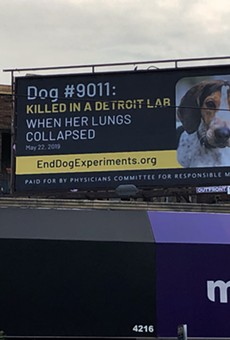 One of four billboards displayed in Detroit as part of a campaign calling on Wayne State University to end experiments on dogs.