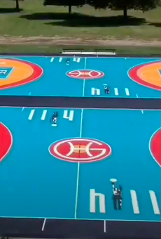 Former Detroit Piston Grant Hill and sportswear brand FILA unveil new basketball courts at Chandler Park on Detroit's Eastside.