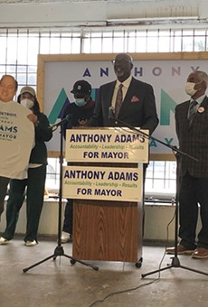 During a Thursday press conference, Detroit mayoral candidate Anthony Adams brought out a cardboard cutout of Mayor Mike Duggan, who has refused to debate him.