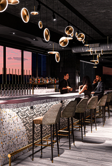 Rendering of The I|O Rooftop Lounge atop The Godfrey Hotel Detroit.