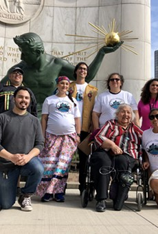 The Detroit Indigenous Peoples Alliance gathered outside the Spirit of Detroit on Indigenous People's Day.