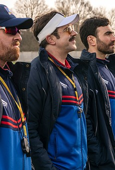 Jason Sudeikis, second from left, stars in Ted Lasso.