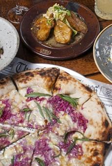 Clockwise, from left: mafalde, Jerusalum artichokes, romanesco, and agro dolce pizza.