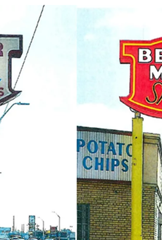 The original sign is on the left, the new one will look like this rendering on the right