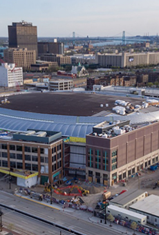The Little Caesars Arena under construction along Woodward Avenue in Detroit.