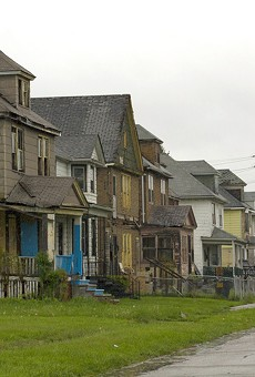 A row of dilapidated houses at Crane and Charlevoix on Detroit's east side. Eleven houses on this block have been foreclosed since 2002.