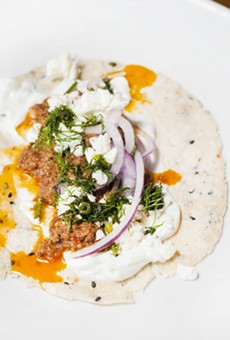 Greek taco with cinnamon lamb, feta, cucumber-garlic yogurt, dill, and Bulgarian feta.