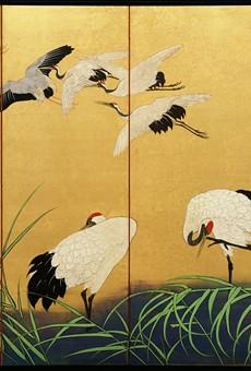 """Reeds and Cranes,"" 19th century, Suzuki Kiitsu, color paint on gilded silk."