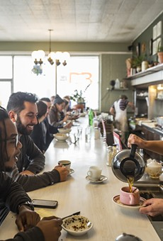 A diverse group of diners meet at Rose's Fine Food in Detroit.