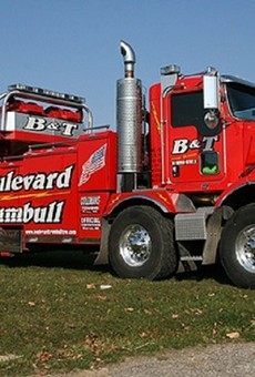 A truck with Gasper Fiore's Detroit-based Boulevard and Trumbull towing company.
