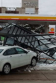 A shattered bus shelter in front of Shell Gas, 4661 Woodward Ave., Detroit.