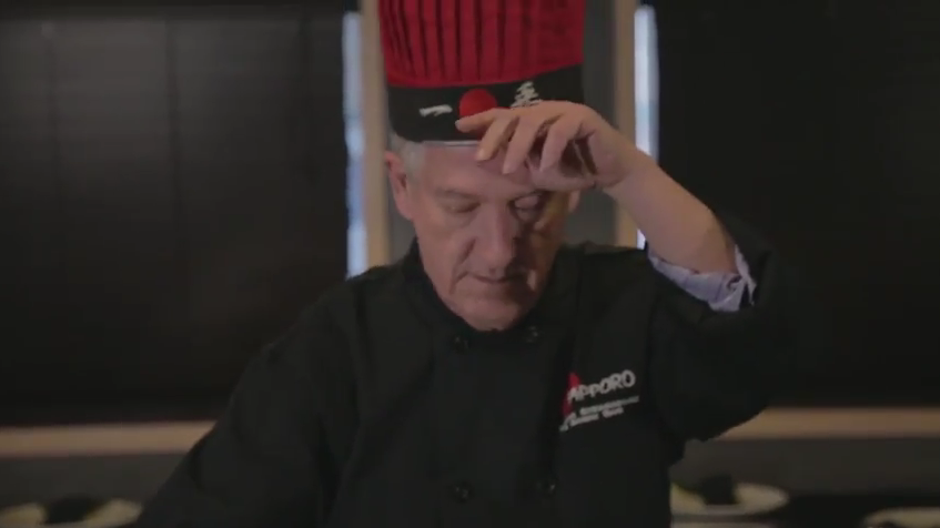 Mayor Wright can take some heat in this cameo role as a teppanyaki chef. - YOUTUBE STILL FROM VIDEO