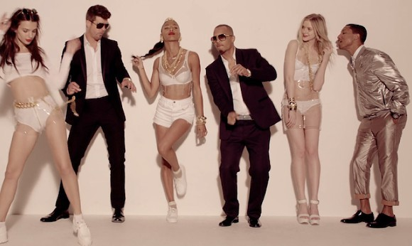 "A still from the video for Robin Thicke's ""Blurred Lines""? - SCREENGRAB"