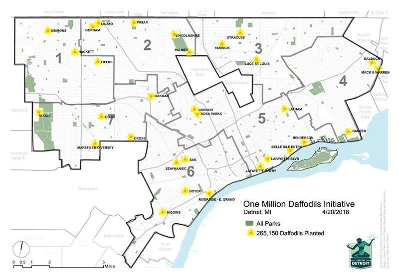 A map displaying all of the places daffodil bulbs have been planted in Detroit - COURTESY OF THE CITY OF DETROIT