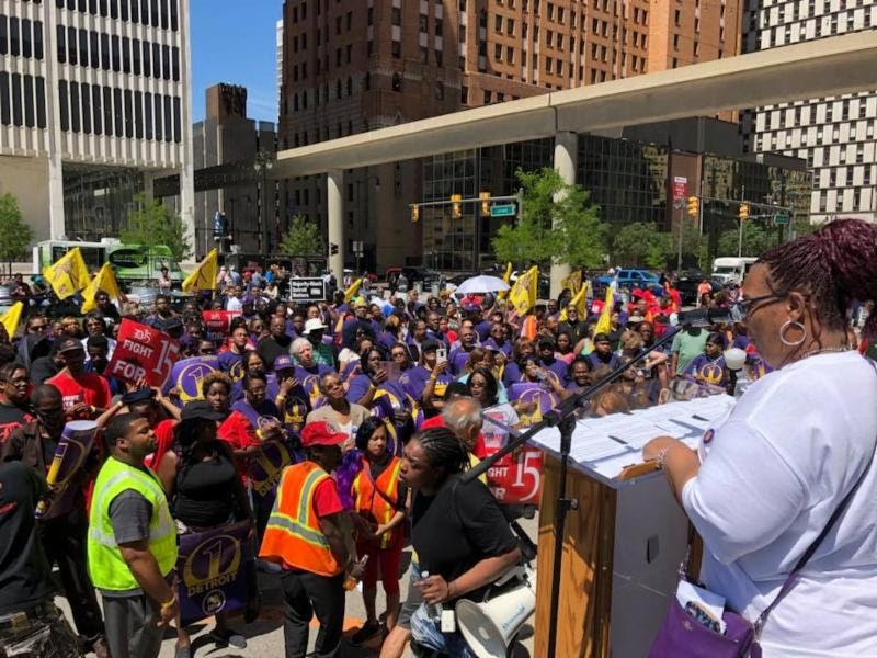 The SEIU kicks off its One Detroit campaign in front of city hall. - COURTESY PHOTO