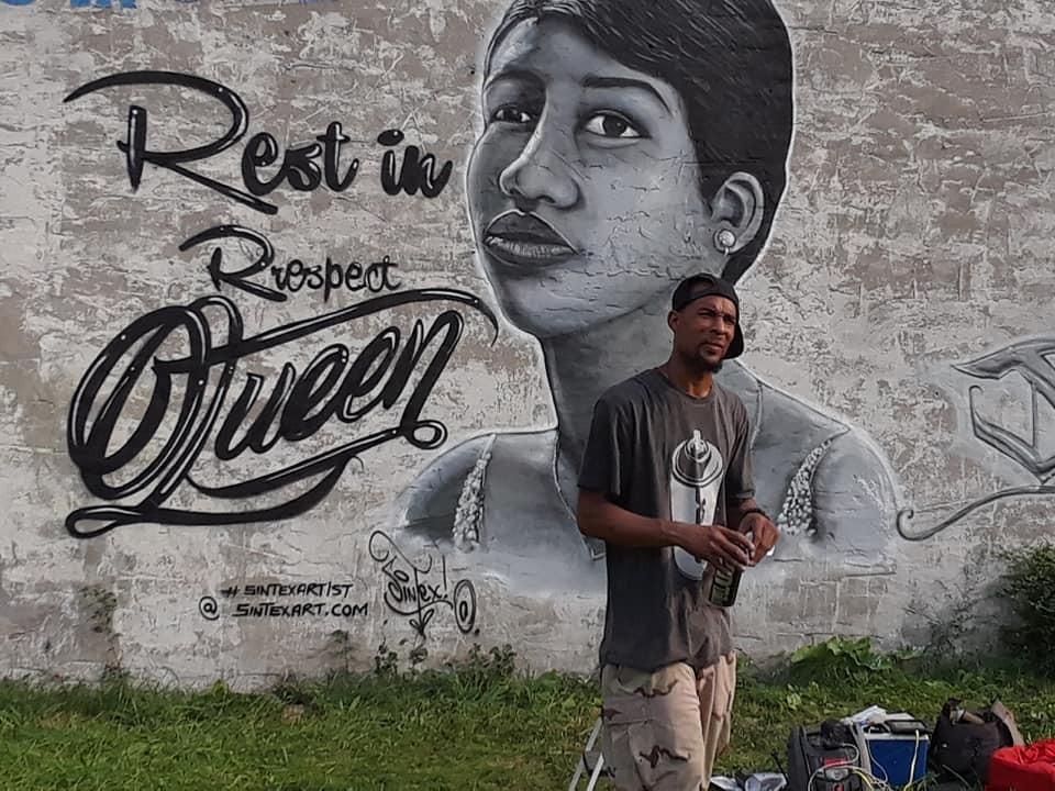 Detroit Graffiti Artist Sintex Pays Tribute To Aretha Franklin With