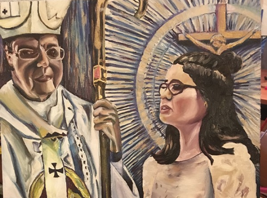 """Painting of Ella Fleury's confirmation, part of """"Moments: What Moments Are Acceptable to Miss?"""" by artist Melissa Wilson. - MELISSA WILSON"""