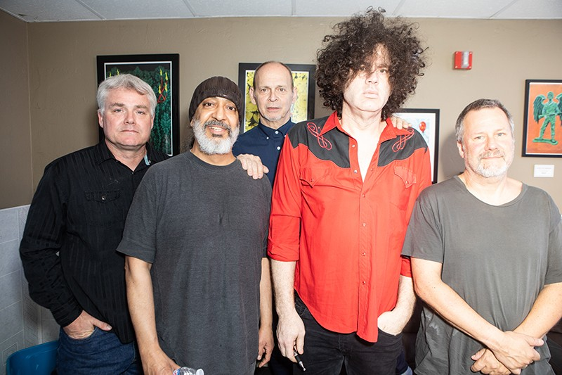 MC50 members (clockwise from top left) Brendan Canty (Fugazi), Kramer, Bill Gould (Faith No More), Marcus Durant (Zen Guerrilla), and Kim Thayil (Soundgarden) backstage. - JIM LOUVAU