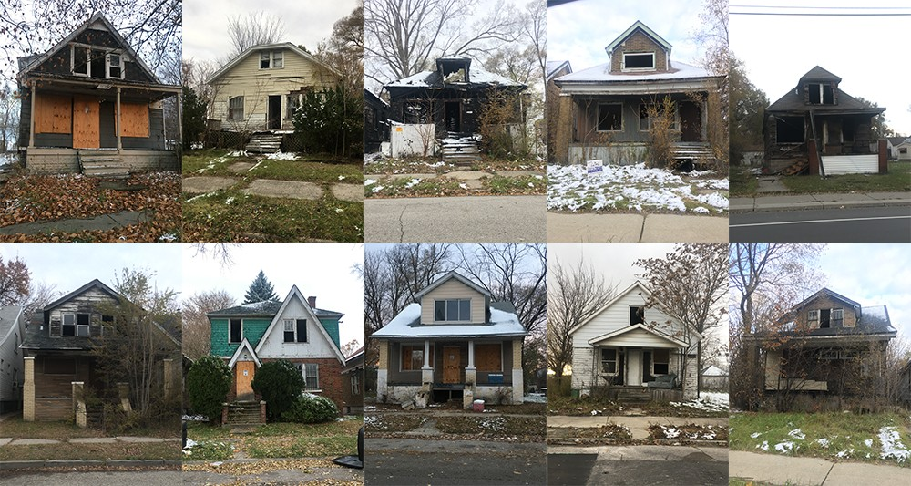 According to the Detroit Land Bank Authority, these houses are not blighted. The agency even believes people are living in some of them. A nine-month Metro Times investigation found hundreds of houses like this. - VIOLET IKONOMOVA