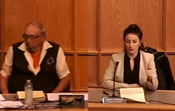 South Lyon councilman Carl Richards, left, and councilwoman Mary Parisien. - SCREENGRAB/YOUTUBE