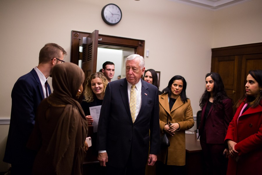 Steny Hoyer, now the newly elected House majority leader, visits Tlaib's office in the morning before heading over to the Capitol Building for the swearing in of the 116th Congress. - ERIK PAUL HOWARD