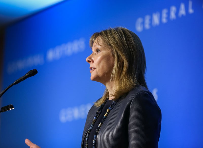 GM CEO Mary Barra at a shareholders meeting in 2017. - STEVE FECHT FOR GENERAL MOTORS