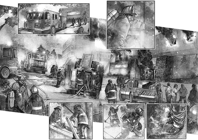 """Two pages of """"Inferno City Firehouse,"""" written by Brian Lau and illustrated by Erwin Arroza. - """"INFERNO CITY FIREHOUSE"""""""