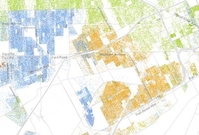 Tricolor west side: The east side of Dearborn, here almost completely in blue, buts up against the city's African-American west side, which blends into the Latino precincts of Mexicantown. - DETAIL OF THE RACIAL DOT MAP