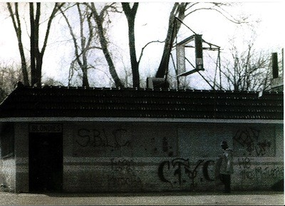 "The original Blondies on Seven Mile Road in Detroit, adorned such Detroit hardcore graffiti for CTYC, H8 Inc., and SBLC. - PHOTO COURTESY MIKE ""THE GOOK"" COULS, COLD AS LIFE"