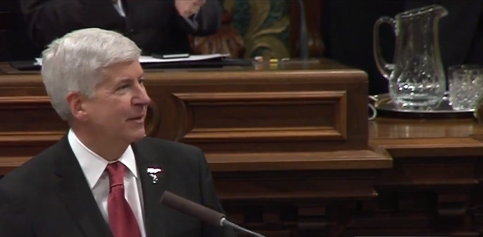 From Gov. Snyder's State of the State speech Tuesday: The pitcher that was worth a thousand words.