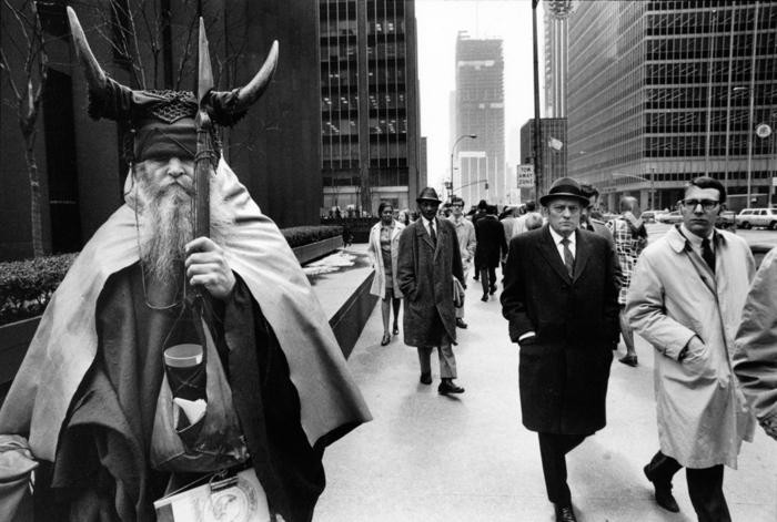 MOONDOG ON THE STREETS OF MANHATTAN. PHOTO COURTESY COLUMBIA RECORDS.