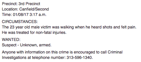 Screenshot from Detroit Police Department Facebook page