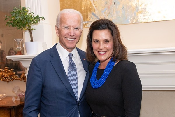 Joe Biden with Gov. Gretchen Whitmer. - GOV. WHITMER'S TWITTER PAGE