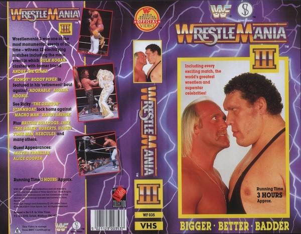 THE COVER OF THE VHS RELEASE OF 'WRESTLEMANIA III'