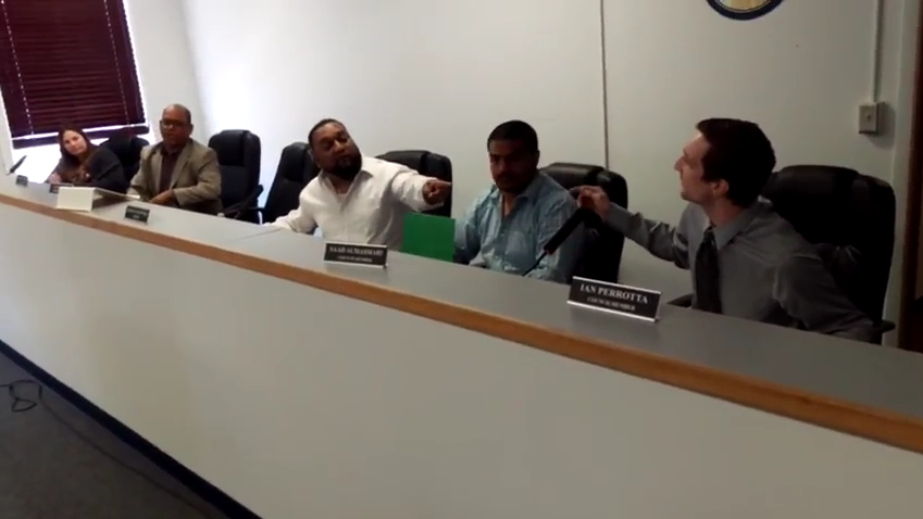 A still taken from the videos posted on YouTube of today's acrimonious City Council meeting in Hamtramck. - FROM YOUTUBE CHANNEL ANDREW P