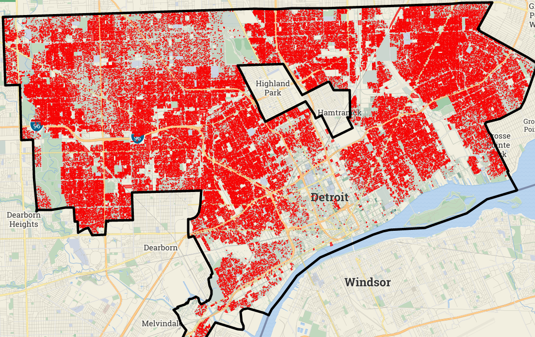 Here is a horrifying map that shows every Detroit tax ... Detroit Map on st louis on map, chicago map, michigan map, great lakes map, baltimore map, new york map, quebec map, duluth map, cincinnati map, pittsburgh map, usa map, henry ford hospital map, royal oak map, atlanta map, toronto map, memphis map, las vegas map, united states map, compton map, highland park map,