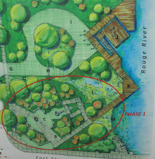 A rendering on a sign at the site shows plans for the park. - PHOTO BY MICHAEL JACKMAN