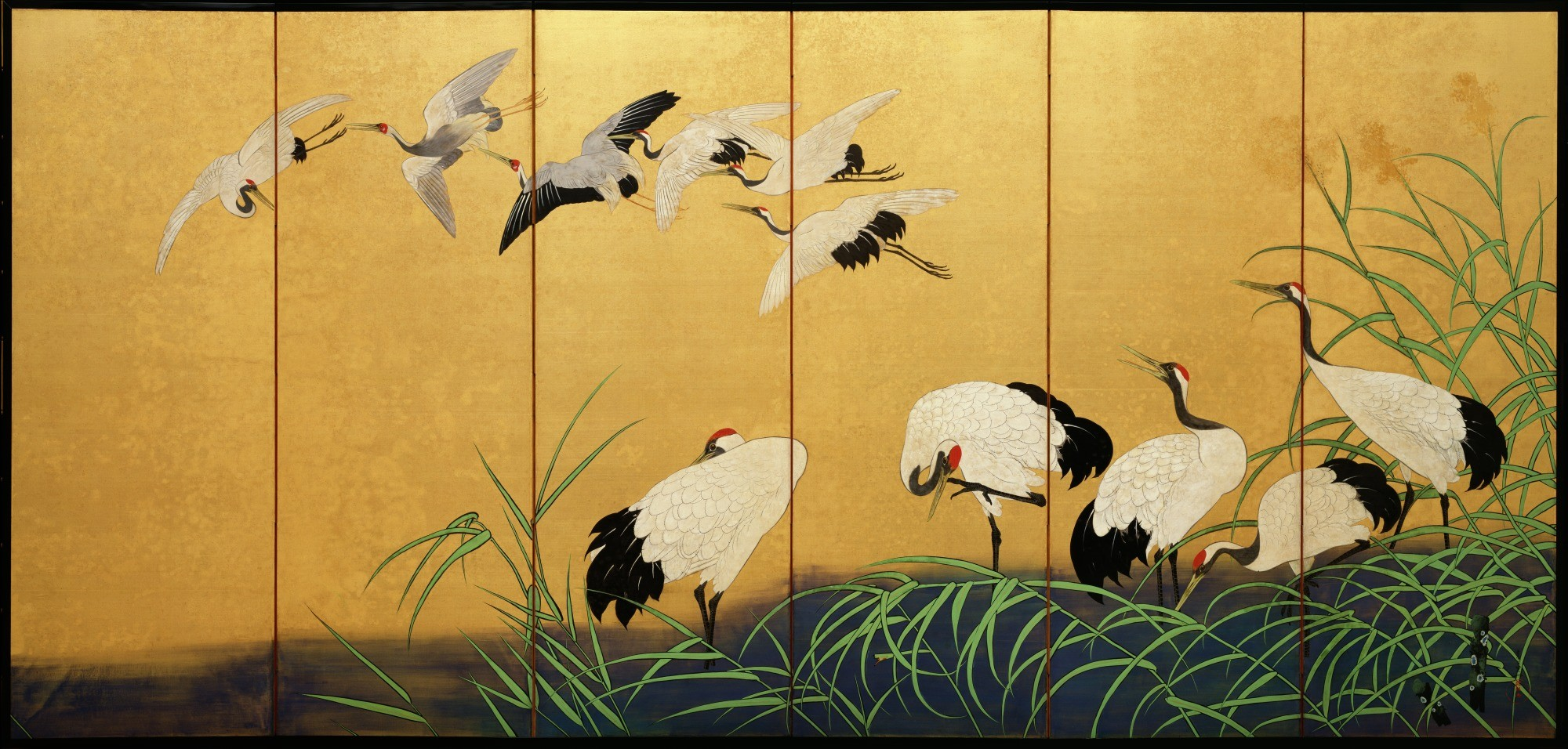 Click To Enlarge U201cReeds And Cranes,u201d 19th Century, Suzuki Kiitsu, Color  Paint On Gilded