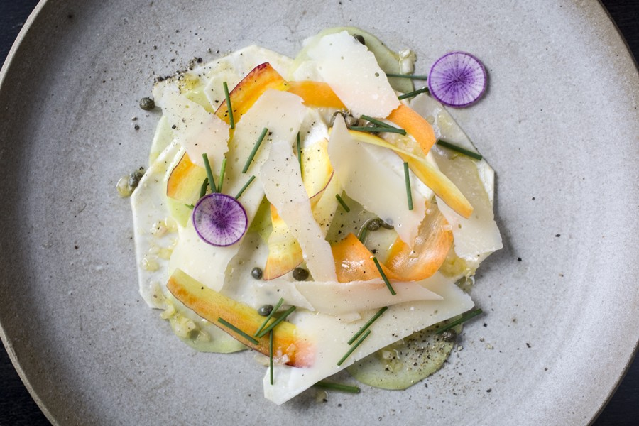 Selden Standard's vegetable carpaccio: The dish's painterly aspects are embodied in white daikon shavings trimmed with green, set off against curls of carrot and a couple paper-thin rounds of purple daikon. - MARVIN SHAOUNI COURTESY SELDEN STANDARD